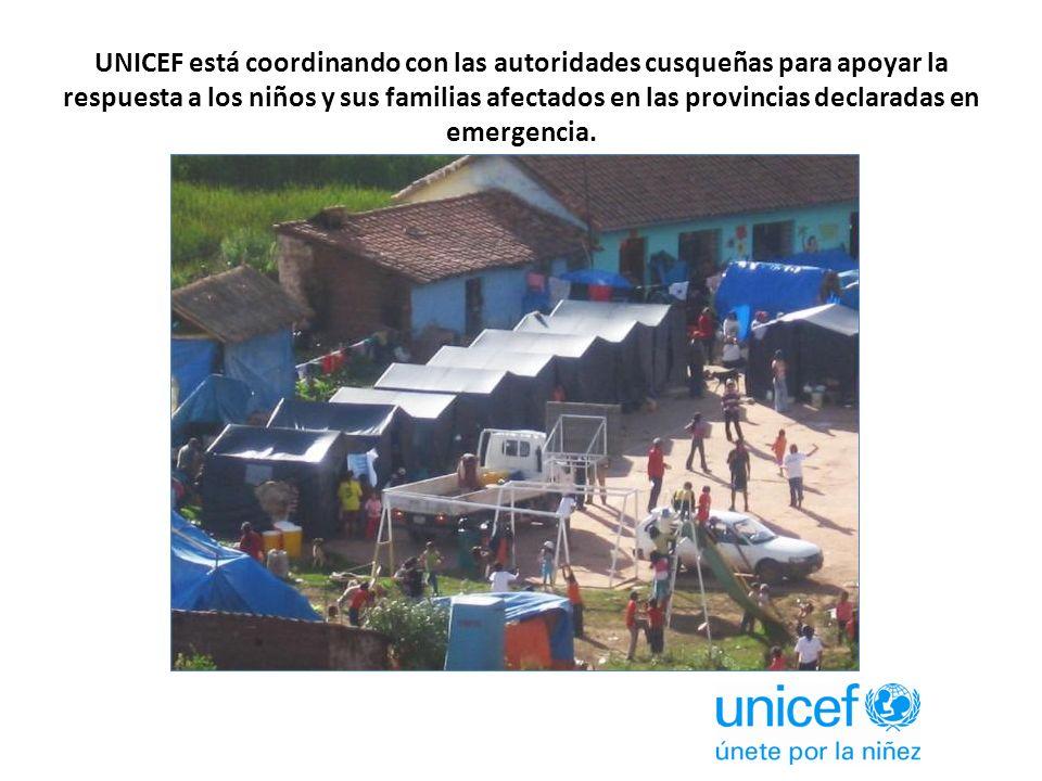UNICEF está coordinando con las autoridades cusqueñas para apoyar la respuesta a los niños y sus familias afectados en las provincias declaradas en emergencia.