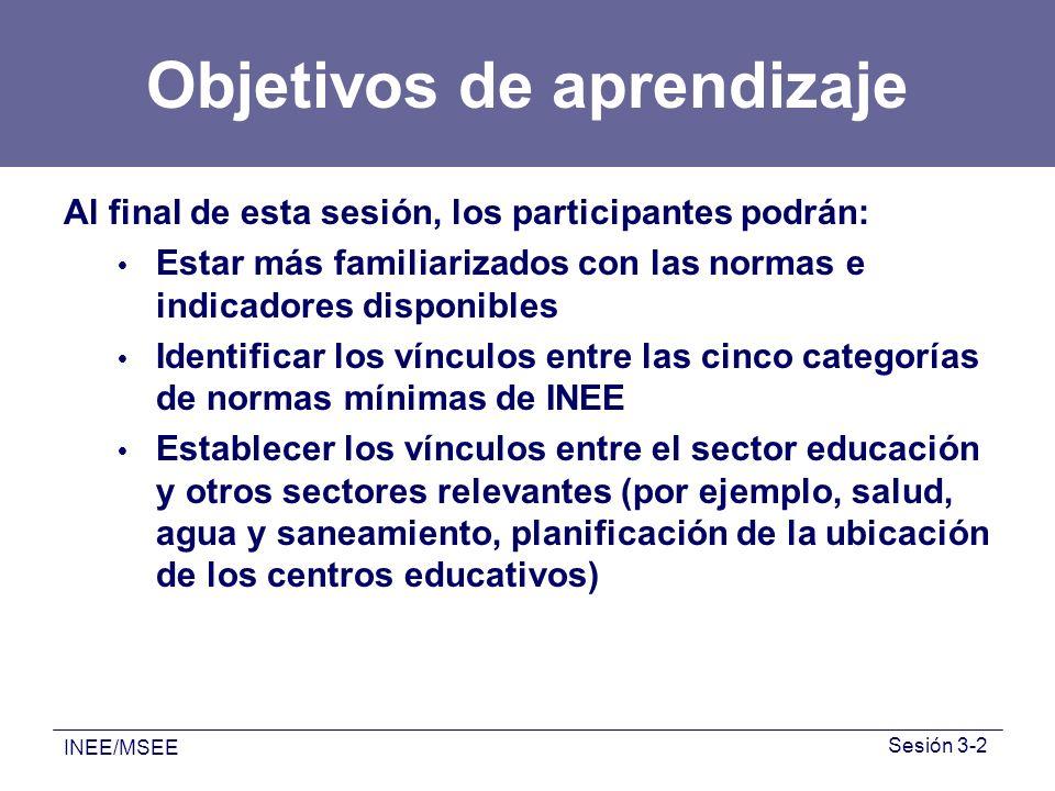 INEE/MSEE Sesión 3-2 Objetivos de aprendizaje Al final de esta sesión, los participantes podrán: Estar más familiarizados con las normas e indicadores