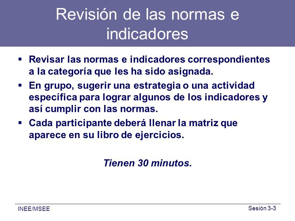 INEE/MSEE Sesión 3-3 Revisión de las normas e indicadores Revisar las normas e indicadores correspondientes a la categoría que les ha sido asignada. E