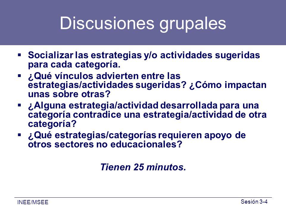 INEE/MSEE Sesión 3-4 Discusiones grupales Socializar las estrategias y/o actividades sugeridas para cada categoría. ¿Qué vínculos advierten entre las