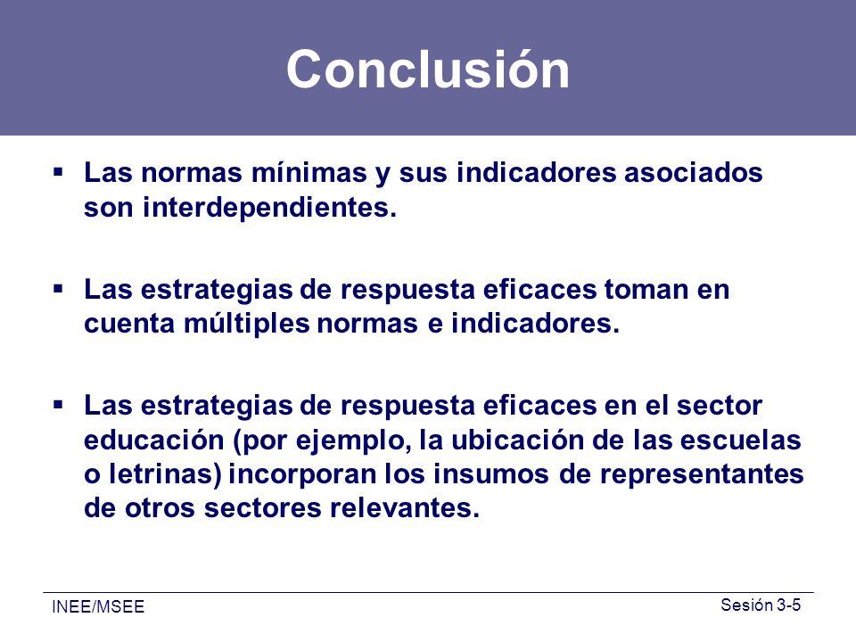 INEE/MSEE Sesión 3-5 Conclusión Las normas mínimas y sus indicadores asociados son interdependientes. Las estrategias de respuesta eficaces toman en c