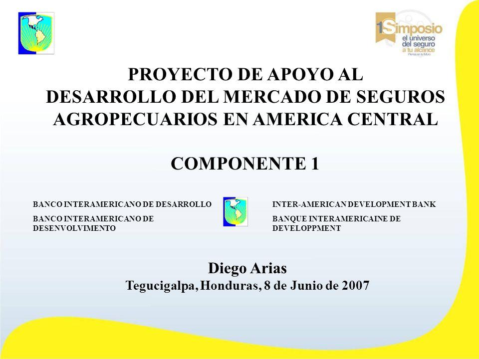 PROYECTO DE APOYO AL DESARROLLO DEL MERCADO DE SEGUROS AGROPECUARIOS EN AMERICA CENTRAL COMPONENTE 1 Diego Arias Tegucigalpa, Honduras, 8 de Junio de 2007 INTER-AMERICAN DEVELOPMENT BANK BANQUE INTERAMERICAINE DE DEVELOPPMENT BANCO INTERAMERICANO DE DESARROLLO BANCO INTERAMERICANO DE DESENVOLVIMENTO