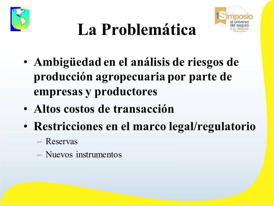 La Problemática Ambigüedad en el análisis de riesgos de producción agropecuaria por parte de empresas y productores Altos costos de transacción Restricciones en el marco legal/regulatorio –Reservas –Nuevos instrumentos
