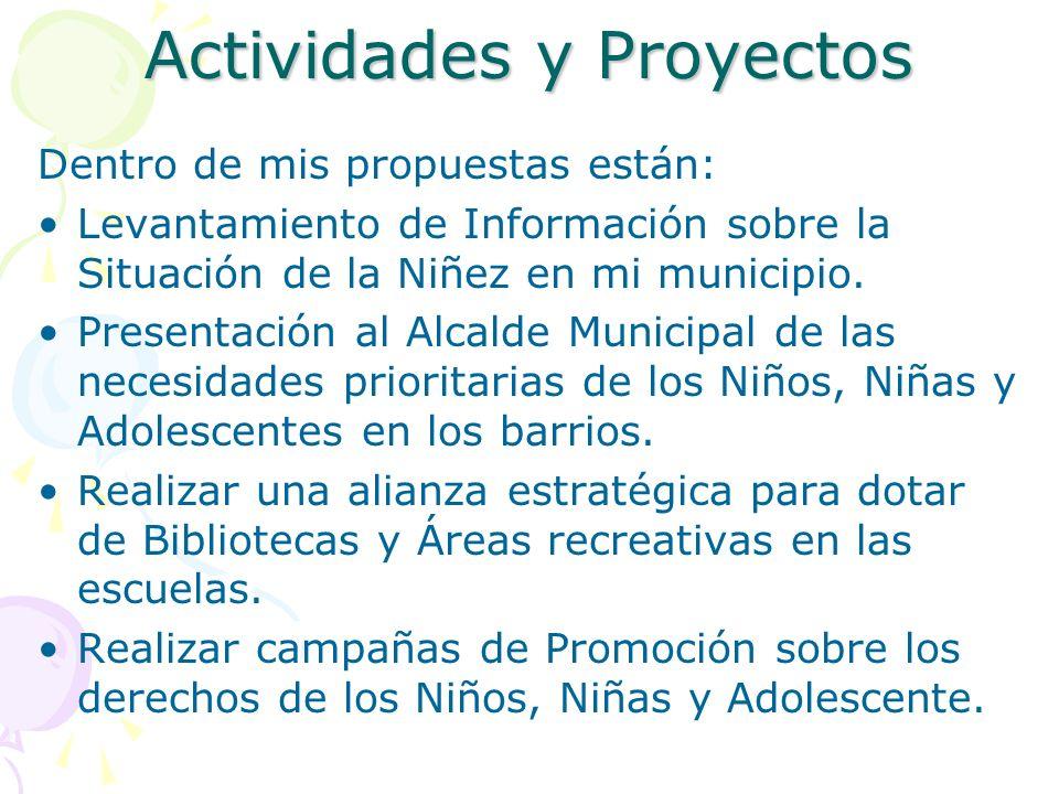 Actividades y Proyectos Dentro de mis propuestas están: Levantamiento de Información sobre la Situación de la Niñez en mi municipio. Presentación al A