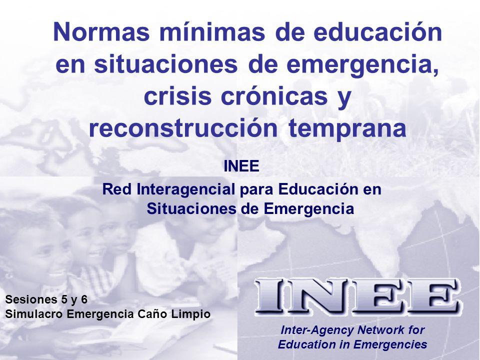 INEE/MSEESesiones 5/6-2 Objetivos de Aprendizaje Al final de esta sesión, los participantes: Entenderán que es necesario evaluar y analizar exhaustivamente los hallazgos de las evaluaciones para poder desarrollar programas de educación apropiados y eficaces.