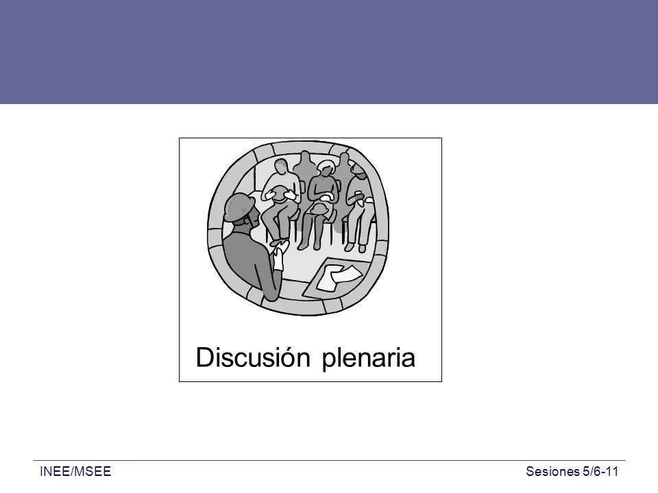 INEE/MSEESesiones 5/6-11 Discusión plenaria