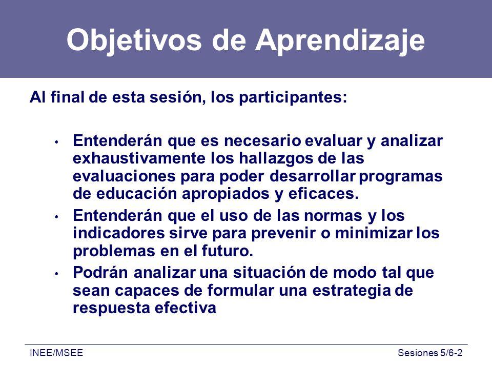 INEE/MSEESesiones 5/6-2 Objetivos de Aprendizaje Al final de esta sesión, los participantes: Entenderán que es necesario evaluar y analizar exhaustiva