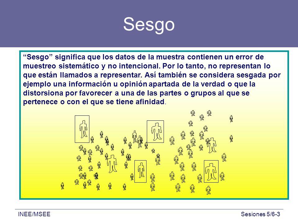 INEE/MSEESesiones 5/6-3 Sesgo Sesgo significa que los datos de la muestra contienen un error de muestreo sistemático y no intencional. Por lo tanto, n