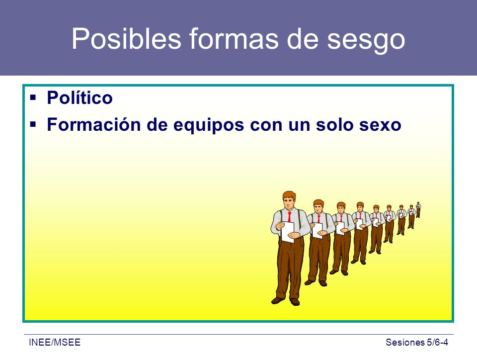 INEE/MSEESesiones 5/6-4 Posibles formas de sesgo Político Formación de equipos con un solo sexo