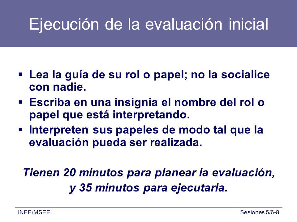 INEE/MSEESesiones 5/6-8 Ejecución de la evaluación inicial Lea la guía de su rol o papel; no la socialice con nadie. Escriba en una insignia el nombre