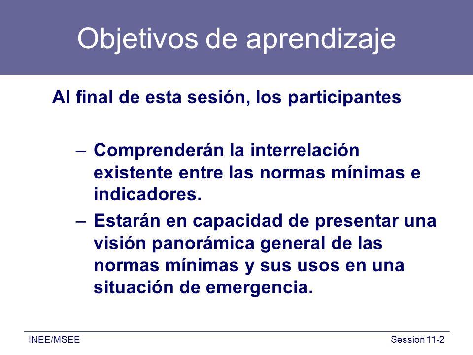 INEE/MSEESession 11-2 Objetivos de aprendizaje Al final de esta sesión, los participantes –Comprenderán la interrelación existente entre las normas mí