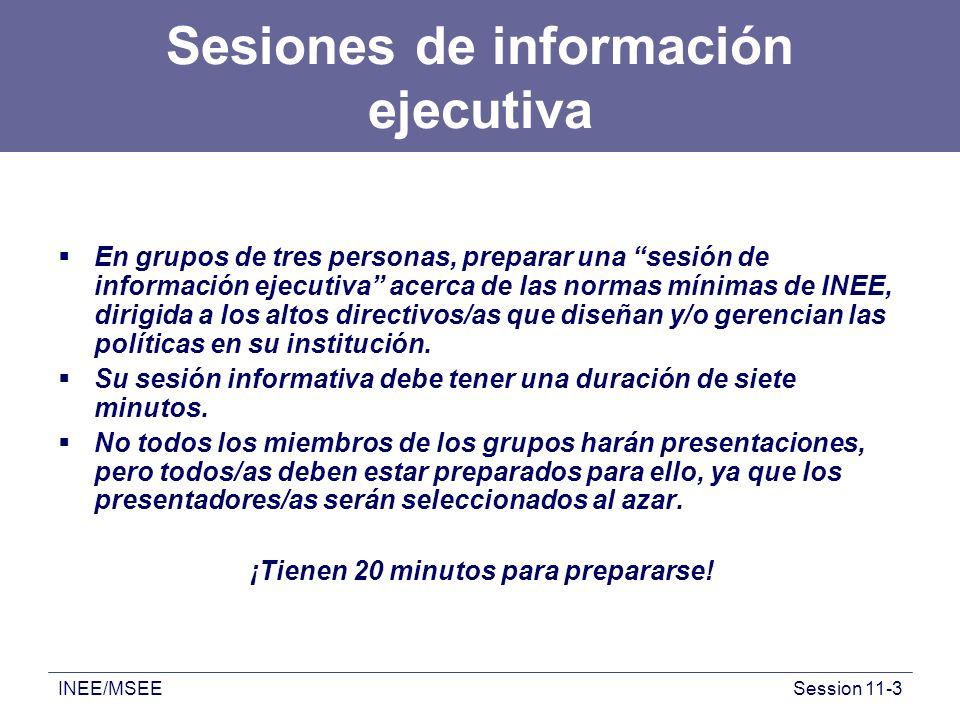 INEE/MSEESession 11-3 Sesiones de información ejecutiva En grupos de tres personas, preparar una sesión de información ejecutiva acerca de las normas