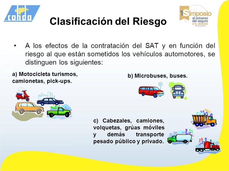 Clasificación del Riesgo A los efectos de la contratación del SAT y en función del riesgo al que están sometidos los vehículos automotores, se disting