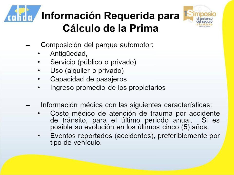 Información Requerida para Cálculo de la Prima –Composición del parque automotor: Antigüedad, Servicio (público o privado) Uso (alquiler o privado) Ca