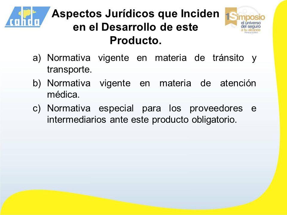 Aspectos Jurídicos que Inciden en el Desarrollo de este Producto. a)Normativa vigente en materia de tránsito y transporte. b)Normativa vigente en mate