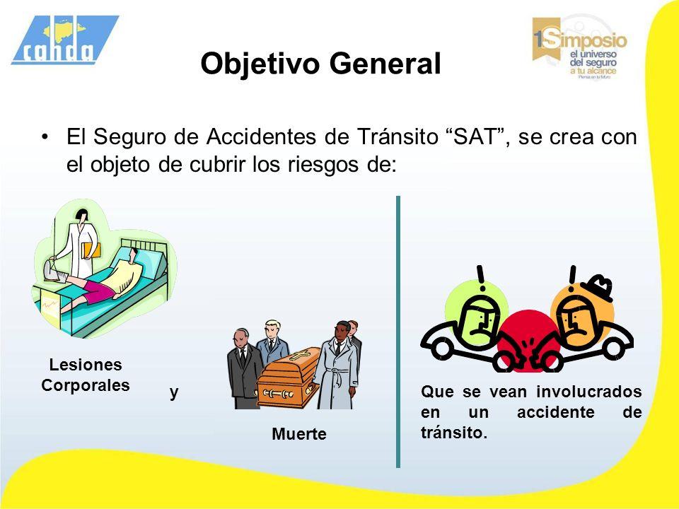 Objetivo General El Seguro de Accidentes de Tránsito SAT, se crea con el objeto de cubrir los riesgos de: Muerte Lesiones Corporales Que se vean invol