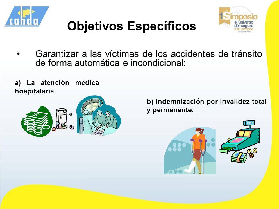 Objetivos Específicos Garantizar a las víctimas de los accidentes de tránsito de forma automática e incondicional: a) La atención médica hospitalaria.