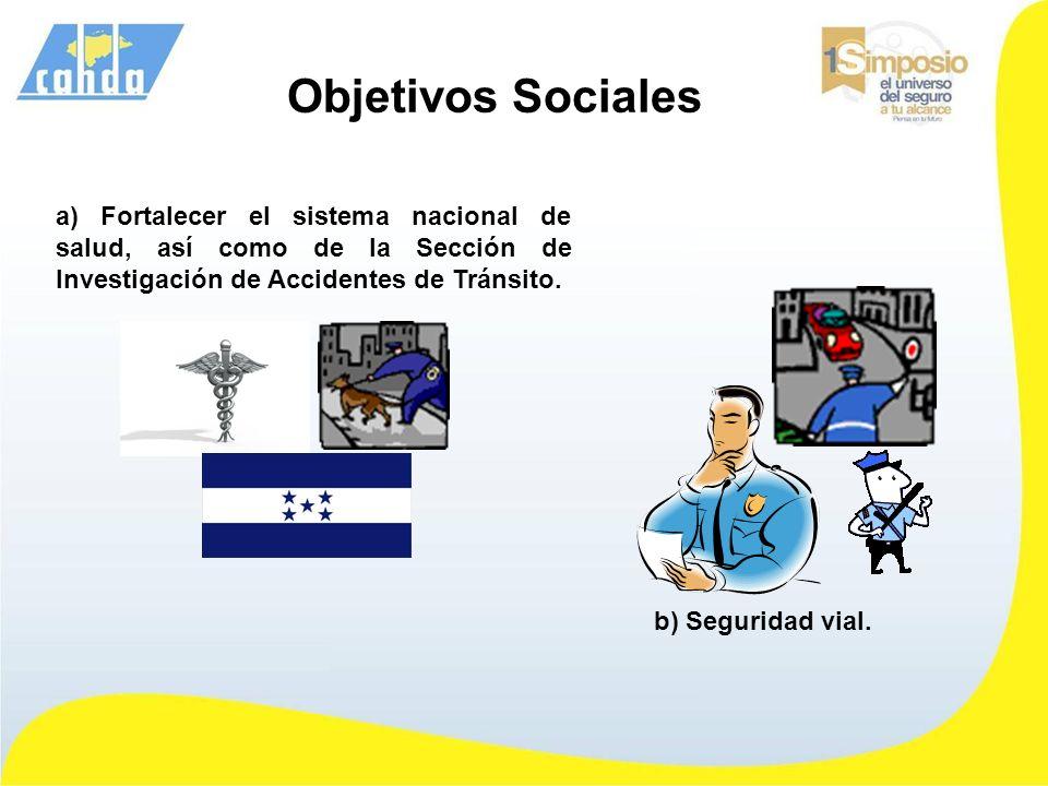 a) Fortalecer el sistema nacional de salud, así como de la Sección de Investigación de Accidentes de Tránsito. b) Seguridad vial. Objetivos Sociales