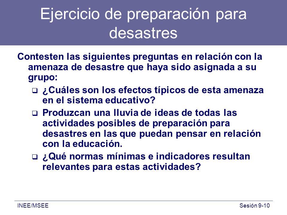 INEE/MSEESesión 9-10 Ejercicio de preparación para desastres Contesten las siguientes preguntas en relación con la amenaza de desastre que haya sido a