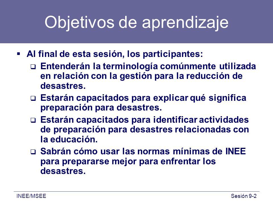 INEE/MSEESesión 9-2 Objetivos de aprendizaje Al final de esta sesión, los participantes: Entenderán la terminología comúnmente utilizada en relación c
