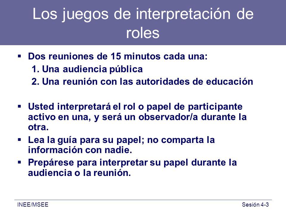 INEE/MSEESesión 4-3 Los juegos de interpretación de roles Dos reuniones de 15 minutos cada una: 1. Una audiencia pública 2. Una reunión con las autori