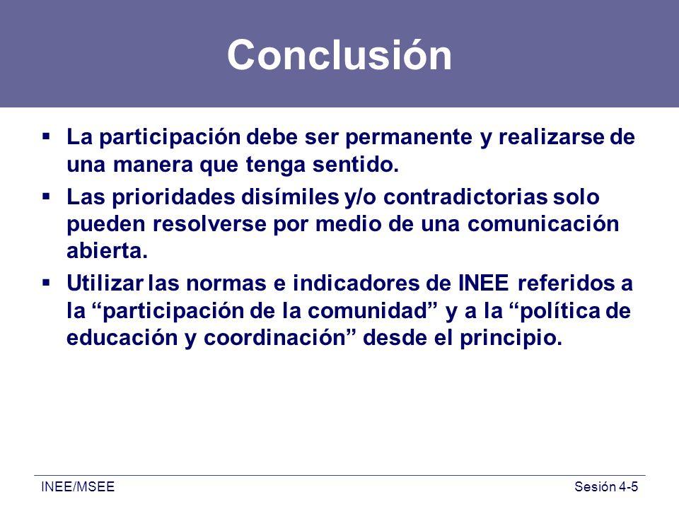 INEE/MSEESesión 4-5 Conclusión La participación debe ser permanente y realizarse de una manera que tenga sentido. Las prioridades disímiles y/o contra