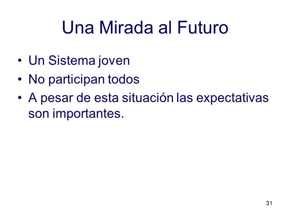 31 Una Mirada al Futuro Un Sistema joven No participan todos A pesar de esta situación las expectativas son importantes.