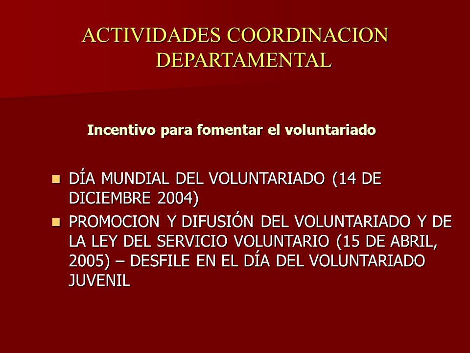 ACTIVIDADES COORDINACION DEPARTAMENTAL Incentivo para fomentar el voluntariado DÍA MUNDIAL DEL VOLUNTARIADO (14 DE DICIEMBRE 2004) DÍA MUNDIAL DEL VOLUNTARIADO (14 DE DICIEMBRE 2004) PROMOCION Y DIFUSIÓN DEL VOLUNTARIADO Y DE LA LEY DEL SERVICIO VOLUNTARIO (15 DE ABRIL, 2005) – DESFILE EN EL DÍA DEL VOLUNTARIADO JUVENIL PROMOCION Y DIFUSIÓN DEL VOLUNTARIADO Y DE LA LEY DEL SERVICIO VOLUNTARIO (15 DE ABRIL, 2005) – DESFILE EN EL DÍA DEL VOLUNTARIADO JUVENIL