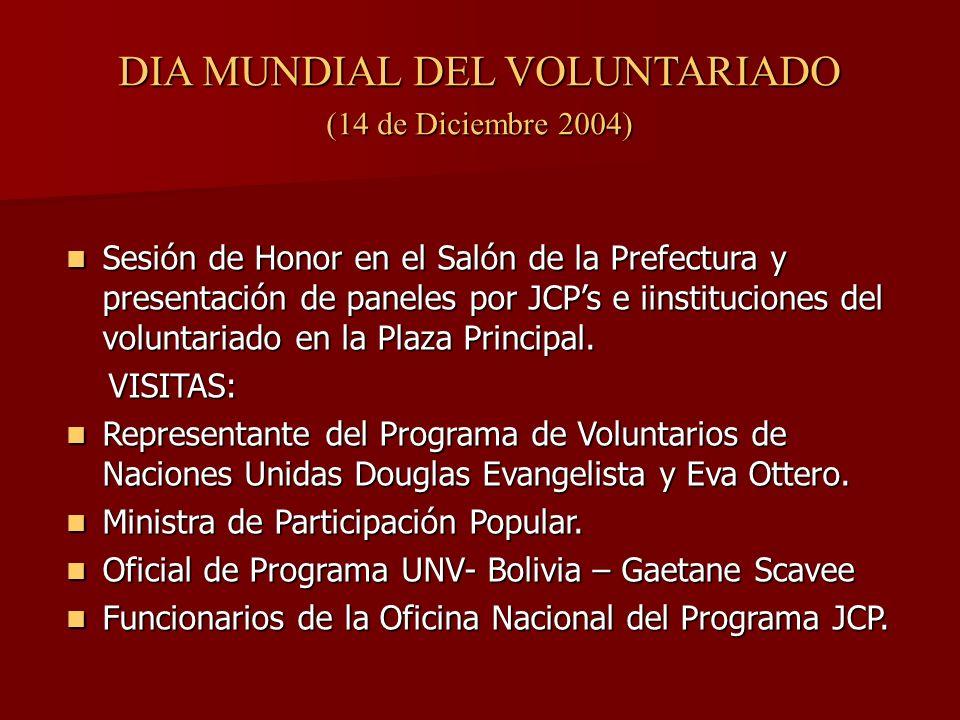DIA MUNDIAL DEL VOLUNTARIADO (14 de Diciembre 2004) Sesión de Honor en el Salón de la Prefectura y presentación de paneles por JCPs e iinstituciones del voluntariado en la Plaza Principal.