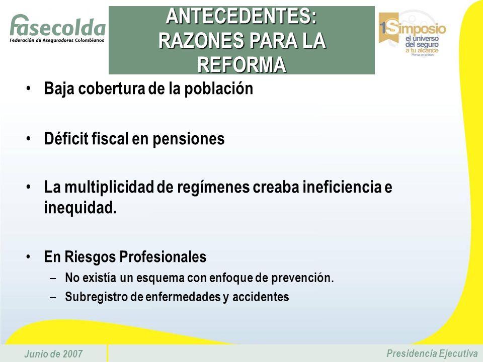 Junio de 2007 Presidencia Ejecutiva Baja cobertura de la población Déficit fiscal en pensiones La multiplicidad de regímenes creaba ineficiencia e ine