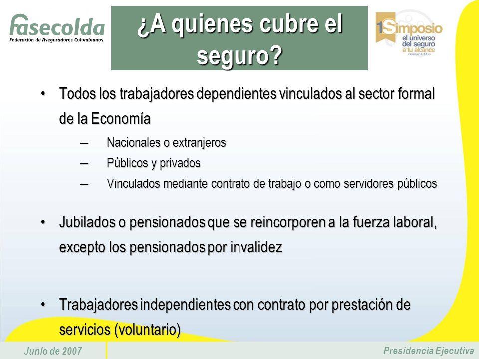 Junio de 2007 Presidencia Ejecutiva Todos los trabajadores dependientes vinculados al sector formal de la EconomíaTodos los trabajadores dependientes