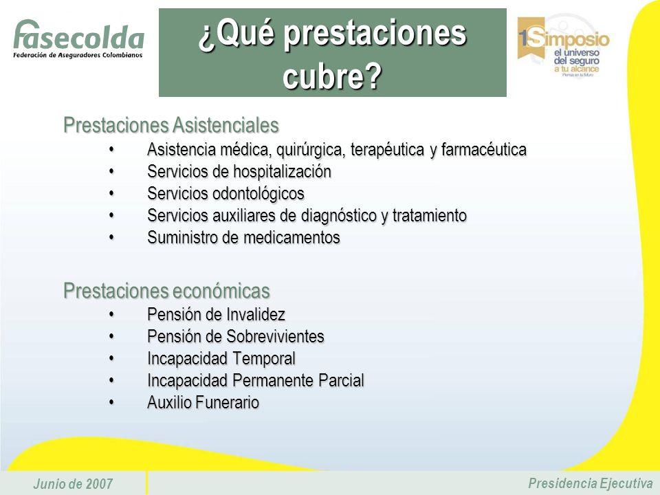 Junio de 2007 Presidencia Ejecutiva Prestaciones Asistenciales Asistencia médica, quirúrgica, terapéutica y farmacéuticaAsistencia médica, quirúrgica,