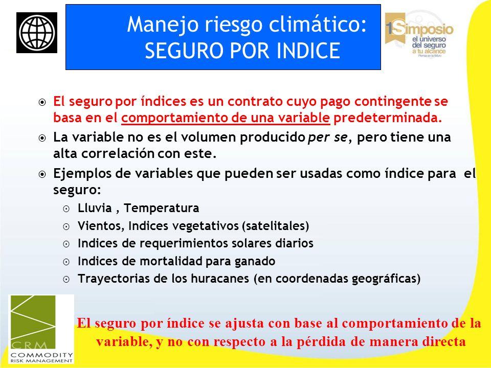 Manejo riesgo climático: SEGURO POR INDICE El seguro por índices es un contrato cuyo pago contingente se basa en el comportamiento de una variable pre