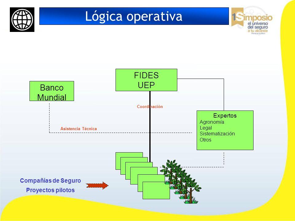 Lógica operativa FIDES UEP Banco Mundial Expertos Agronomía Legal Sistematización Otros Compañías de Seguro Proyectos pilotos Asistencia Técnica Coord