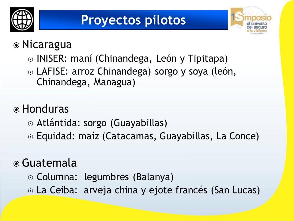 Proyectos pilotos Nicaragua INISER: maní (Chinandega, León y Tipitapa) LAFISE: arroz Chinandega) sorgo y soya (león, Chinandega, Managua) Honduras Atl