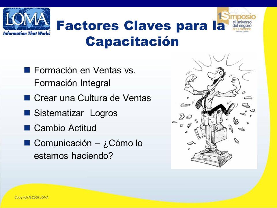 Copyright © 2005 LOMA Factores Claves para la Capacitación Formación en Ventas vs.