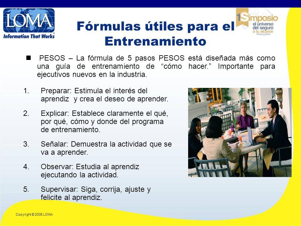 Copyright © 2005 LOMA PESOS – La fórmula de 5 pasos PESOS está diseñada más como una guía de entrenamiento de cómo hacer.