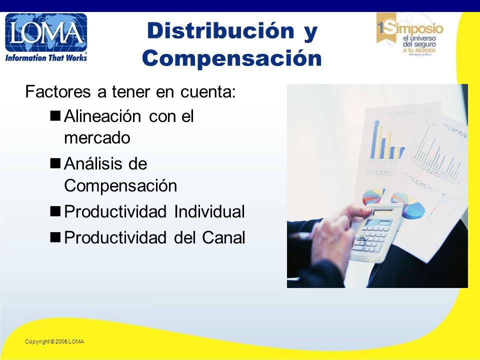 Copyright © 2005 LOMA Distribución y Compensación Factores a tener en cuenta: Alineación con el mercado Análisis de Compensación Productividad Individual Productividad del Canal