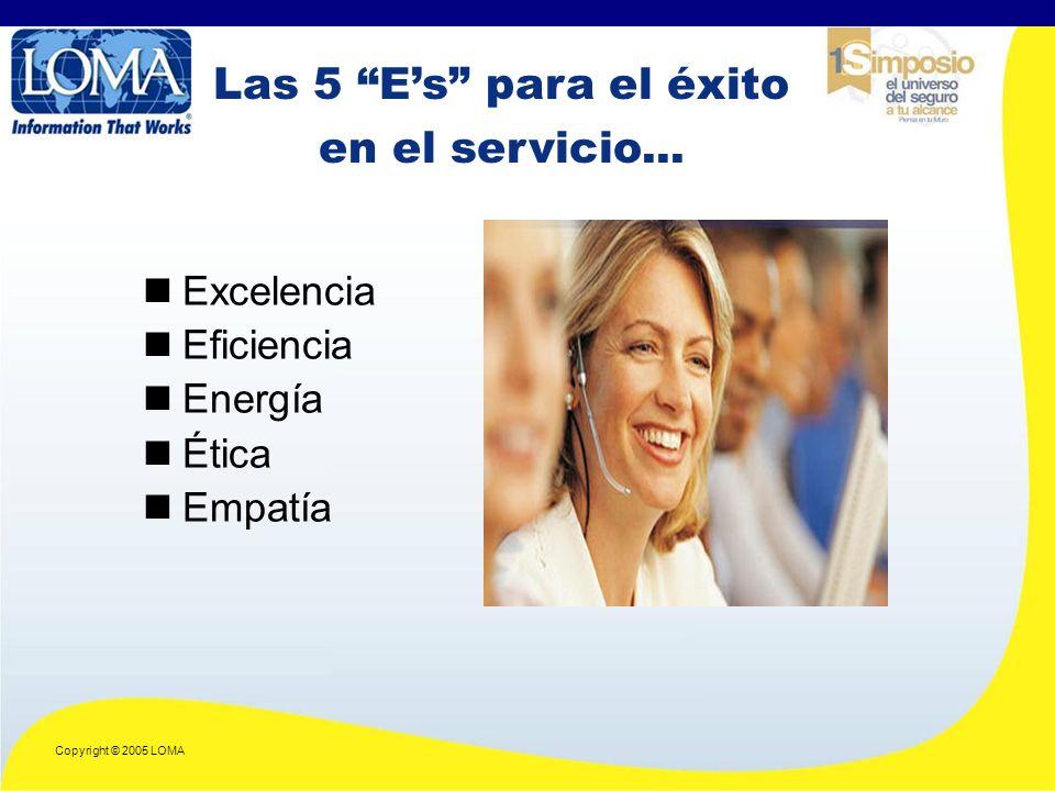 Copyright © 2005 LOMA Las 5 Es para el éxito en el servicio...