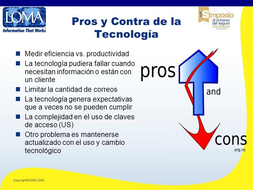 Copyright © 2005 LOMA Pros y Contra de la Tecnología Medir eficiencia vs.