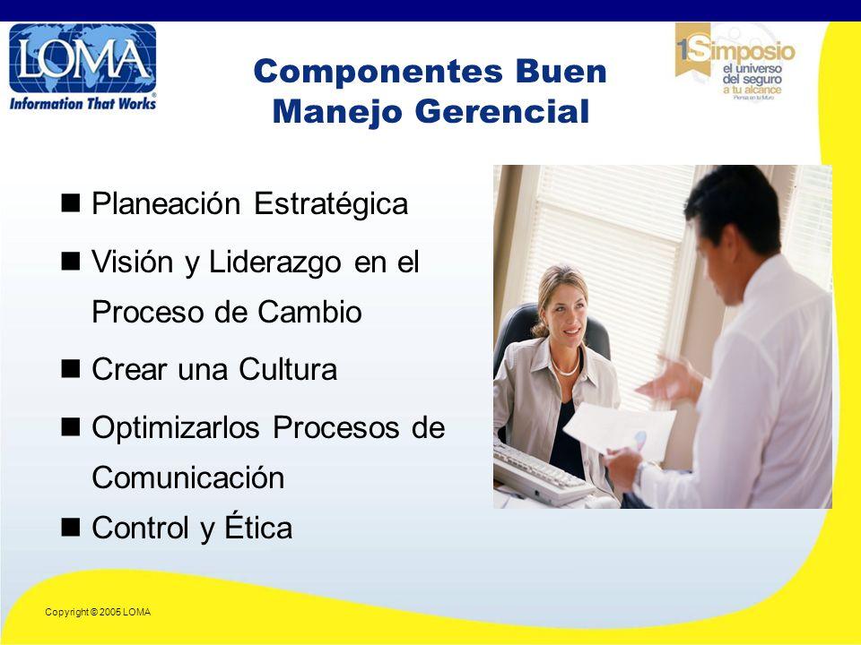 Copyright © 2005 LOMA Componentes Buen Manejo Gerencial Planeación Estratégica Visión y Liderazgo en el Proceso de Cambio Crear una Cultura Optimizarlos Procesos de Comunicación Control y Ética