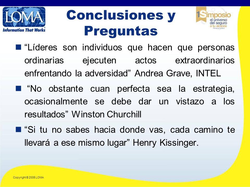 Copyright © 2005 LOMA Líderes son individuos que hacen que personas ordinarias ejecuten actos extraordinarios enfrentando la adversidad Andrea Grave, INTEL No obstante cuan perfecta sea la estrategia, ocasionalmente se debe dar un vistazo a los resultados Winston Churchill Si tu no sabes hacia donde vas, cada camino te llevará a ese mismo lugar Henry Kissinger.