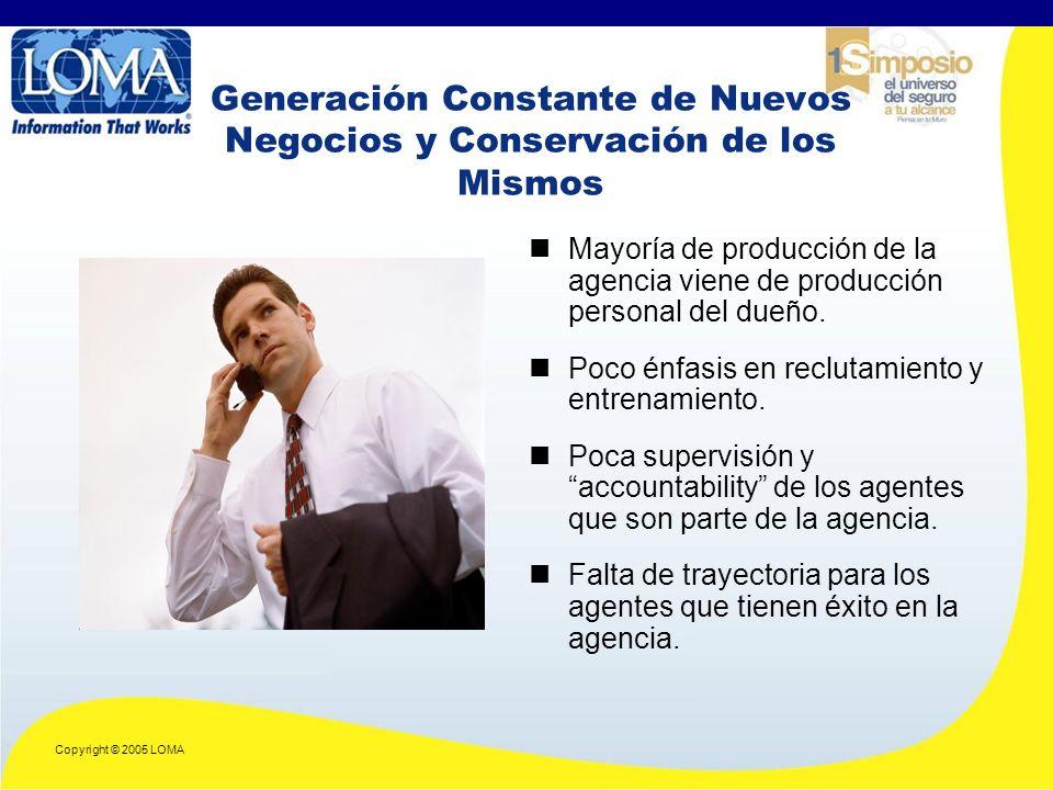Copyright © 2005 LOMA Generación Constante de Nuevos Negocios y Conservación de los Mismos Mayoría de producción de la agencia viene de producción personal del dueño.
