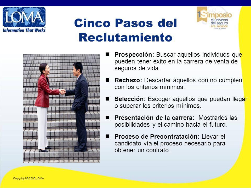 Copyright © 2005 LOMA Cinco Pasos del Reclutamiento Prospección: Buscar aquellos individuos que pueden tener éxito en la carrera de venta de seguros de vida.