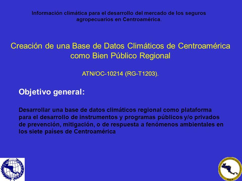 Creación de una Base de Datos Climáticos de Centroamérica como Bien Público Regional ATN/OC-10214 (RG-T1203). Objetivo general: Desarrollar una base d