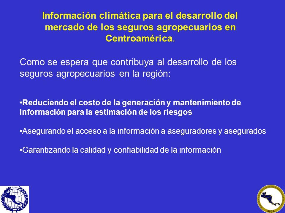 Como se espera que contribuya al desarrollo de los seguros agropecuarios en la región: Reduciendo el costo de la generación y mantenimiento de informa