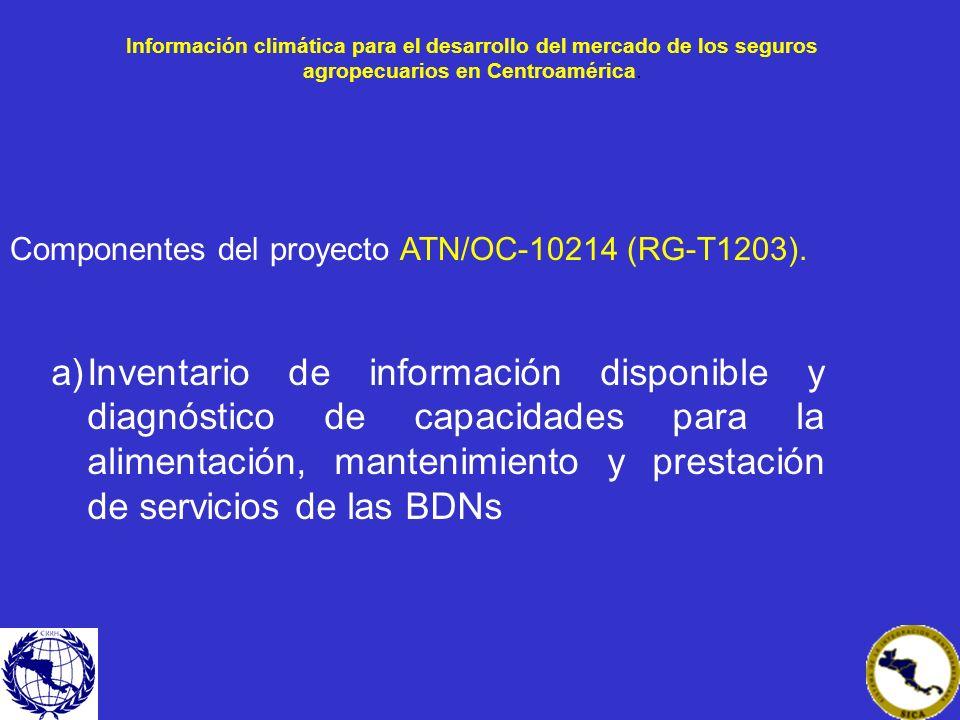 a)Inventario de información disponible y diagnóstico de capacidades para la alimentación, mantenimiento y prestación de servicios de las BDNs Componen