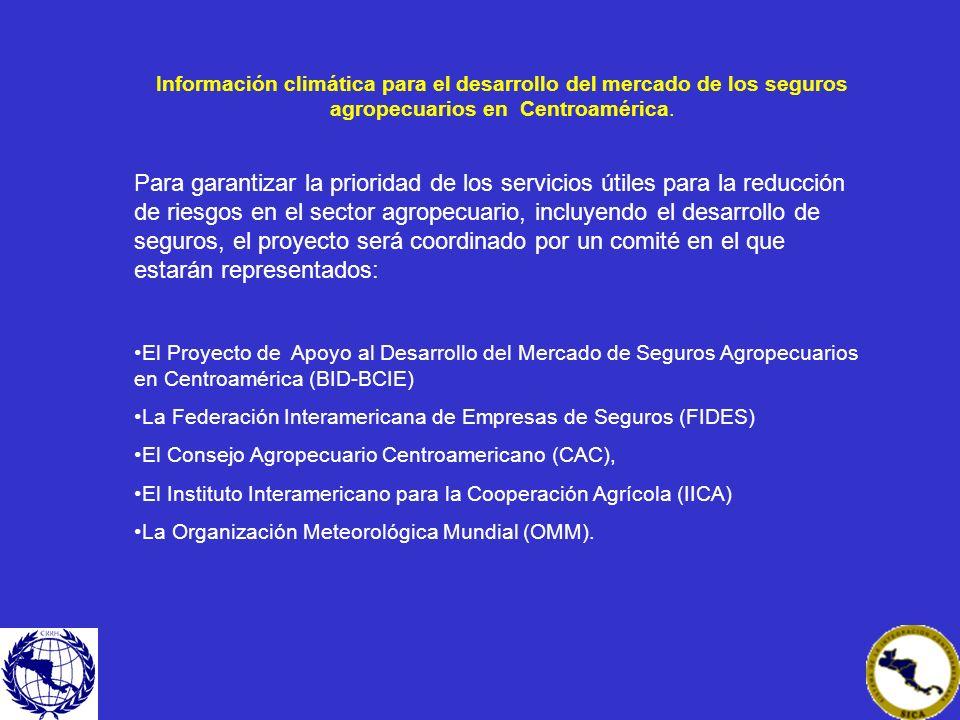 Información climática para el desarrollo del mercado de los seguros agropecuarios en Centroamérica. Para garantizar la prioridad de los servicios útil