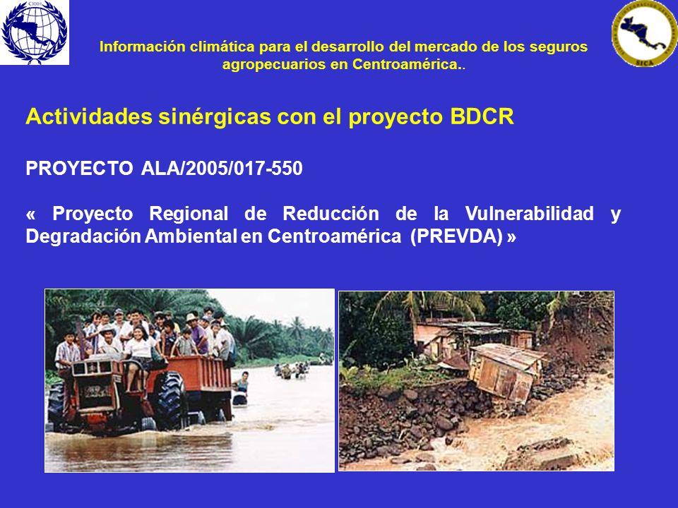 Actividades sinérgicas con el proyecto BDCR PROYECTO ALA/2005/017-550 « Proyecto Regional de Reducción de la Vulnerabilidad y Degradación Ambiental en
