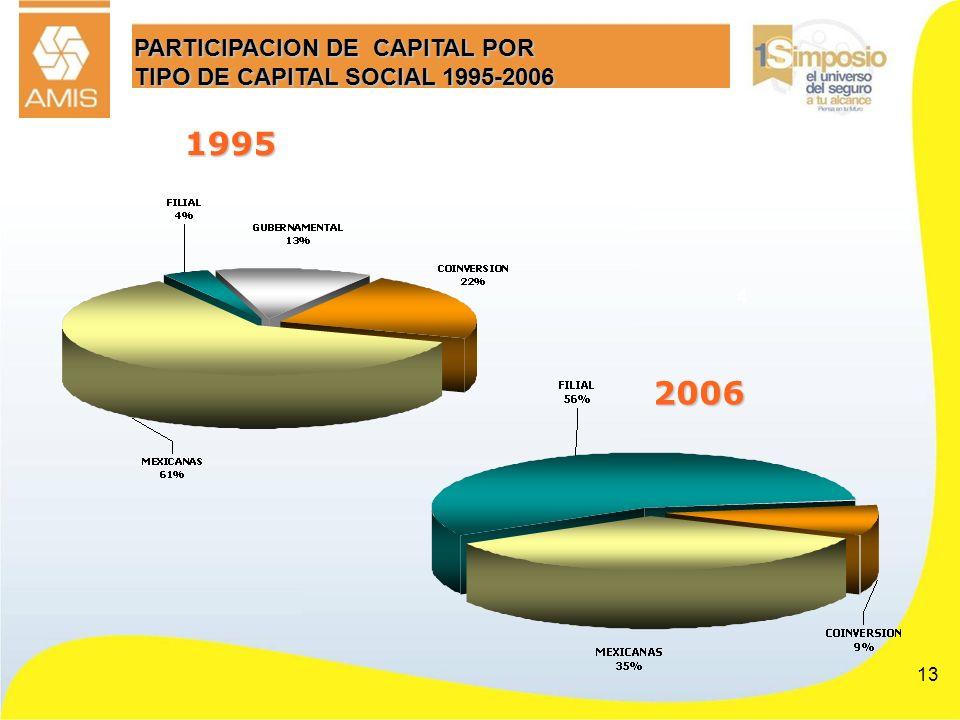 13 PARTICIPACION DE CAPITAL POR TIPO DE CAPITAL SOCIAL 1995-2006 4 1995 2006